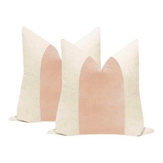 """22"""" Pale Pink Velvet Panel & Linen Pillows - a Pair"""