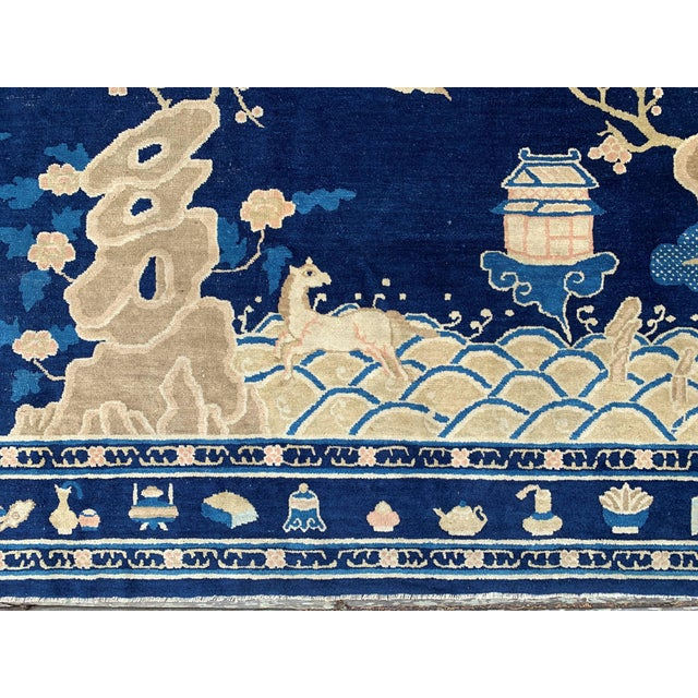1910s Antique 1910s Blue Chinese Pictorial Rug- 5′ × 8′ For Sale - Image 5 of 13