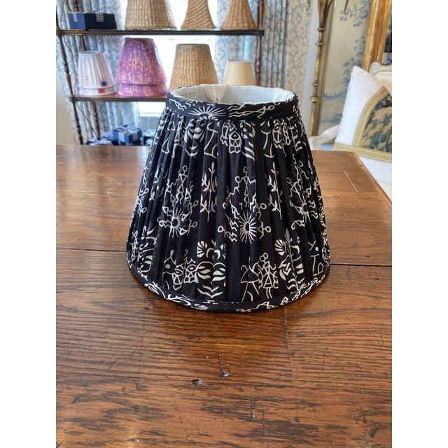 Boho Chic Maison Maison Black Gathered Lampshade For Sale - Image 4 of 4