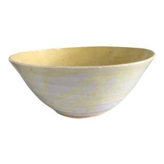 Vintage Mid Century Modern Style Yellow Studio Stoneware Ceramic Pottery Bowl For Sale