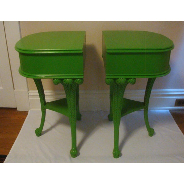 Striking vintage Hollywood Regency mahogany night stands or side tables, recently updated with fresh lime green paint....