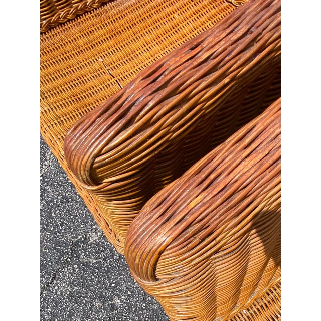 Mid 20th Century Vintage Boho Chic Rattan Barrel Chairs -Set of 4 For Sale - Image 5 of 13
