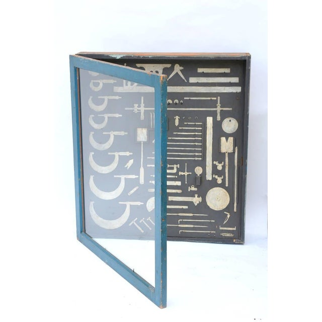 Blue One-Of-A-Kind Painted Carpenters Tool Cabinet For Sale - Image 8 of 8