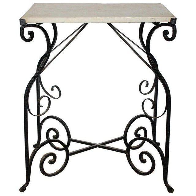 Early 20th Century Early 20th Century Antique French Wrought Iron and Marble Table For Sale - Image 5 of 5