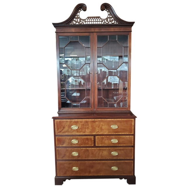 Baker Mahogany Collector's Edition Bookcase Secretary For Sale - Image 11 of 11