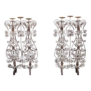 Vintage Wrought Iron Pair of Candle Holders For Sale