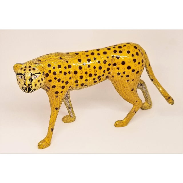 Asian Cheetah - Vintage Cloisonne Enamel and Brass Sculpture - Mid Century Modern Palm Beach Boho Chic Animal Tropical Coastal For Sale - Image 3 of 12