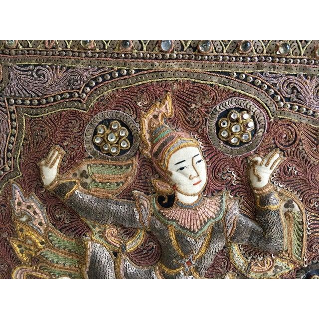 Vintage Burmese Kalaga Dancer Tapestry For Sale - Image 4 of 10