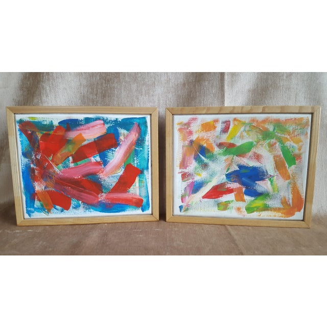 A Pair- Original Abstract Acrylic Paintings in Cubed Wooden Frames For Sale - Image 13 of 13