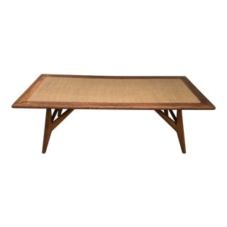 Mid Century Modern Oak and Grass Cloth Coffee Table For Sale