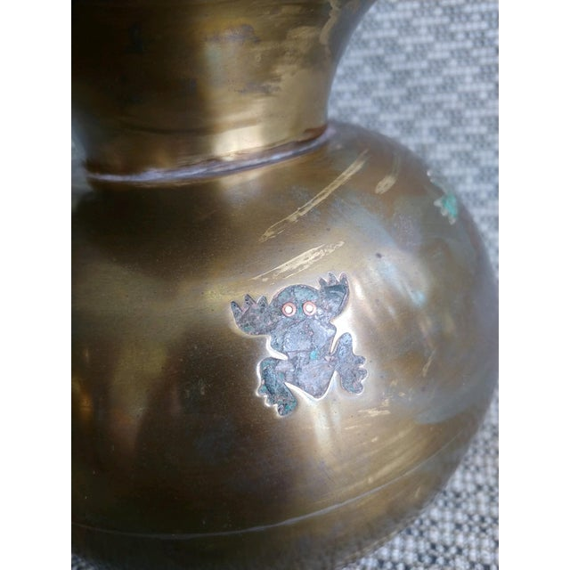 Brass Mid 20th Century Mexican Pitcher With Frogs, Los Castillo For Sale - Image 8 of 12