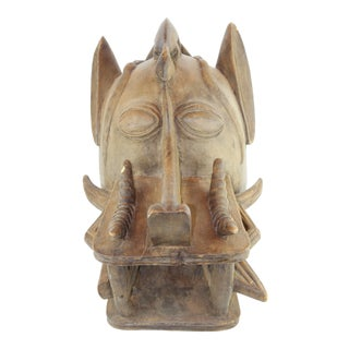 Pasargad DC Antique African Tribal Hand Carved Wood Mask For Sale
