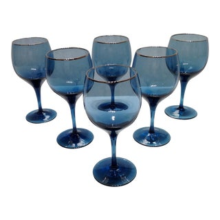 Lenox Blue Crystal Goblets - Set of 6