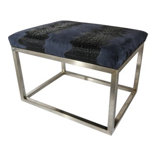 Chris Croc Suede Navy Footstool For Sale