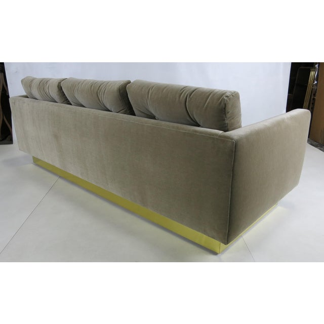 1970s Tufted Sofa with Brass Base by Milo Baughman For Sale - Image 5 of 5