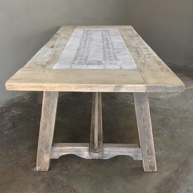 Red 19th Century Spanish Table With Marble Tiles For Sale - Image 8 of 12