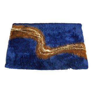 1970s Mid Century Modern Navy Blue Shag Area Rug Carpet For Sale