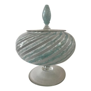 Vintage Murano Glass Lidded Candy Dish Compote Bowl in Aqua and White For Sale