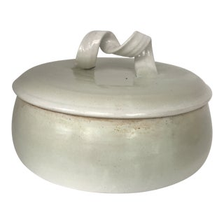 Mid Century Modern Off White Lidded Vessel For Sale