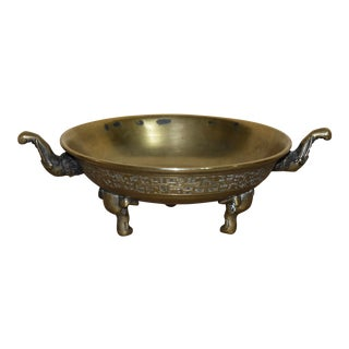 Antique Chinese Twin Handled Bronze Elephant Bowl For Sale