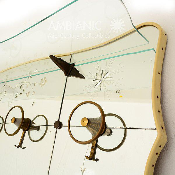 Brass Vintage Italian Full Length Mirror with Shelf & Hooks After Fontana Arte For Sale - Image 7 of 11