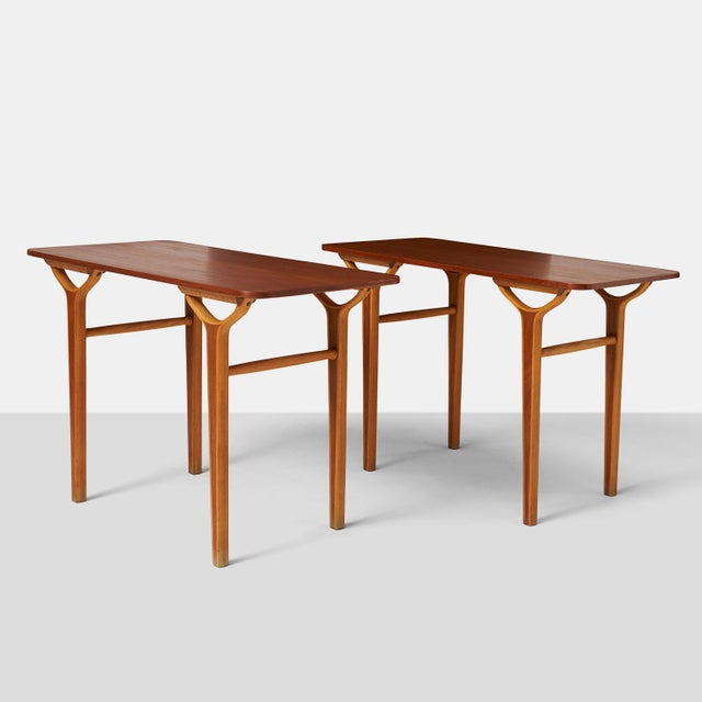 Peter Hvidt & Orla Molgaard Nielsen AX series side tables. A rare pair of side tables in teak and beech form the AX series...