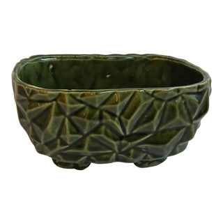Vintage Mid Century Avocado Green Patterned Planter For Sale