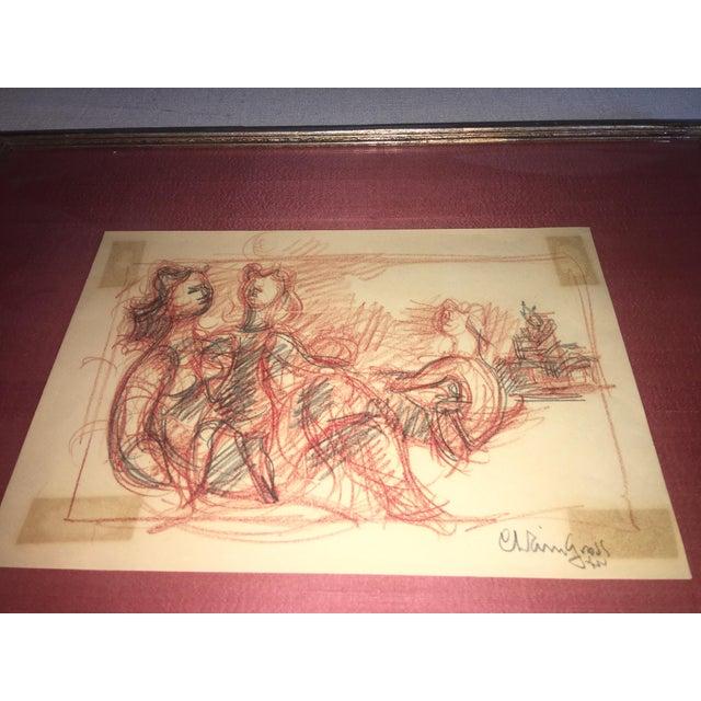 Chaim Gross Signed Original Crayon Drawing - Image 7 of 7