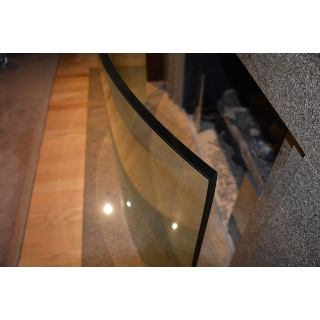 Art Deco Custom Curved/Bowed Glass Fireplace Screen For Sale - Image 3 of 11