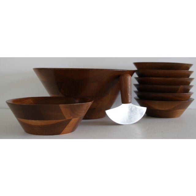 Mid-Century Walnut Salad Set - Image 2 of 8