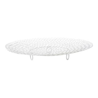 White Lacquered Metal Circle Bowl Contemporary For Sale