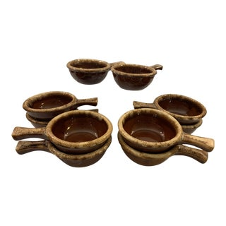 Vintage Hull Pottery Brown Drip Soup Bowls with Handles - Set of 10 For Sale
