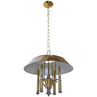 Lightolier Brass and Nickel Four-Light Chandelier For Sale