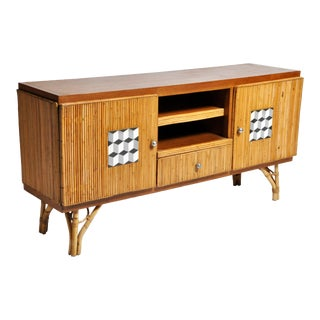 "French Riviera Style ""Tiki"" Bamboo and Rattan Sideboard For Sale"