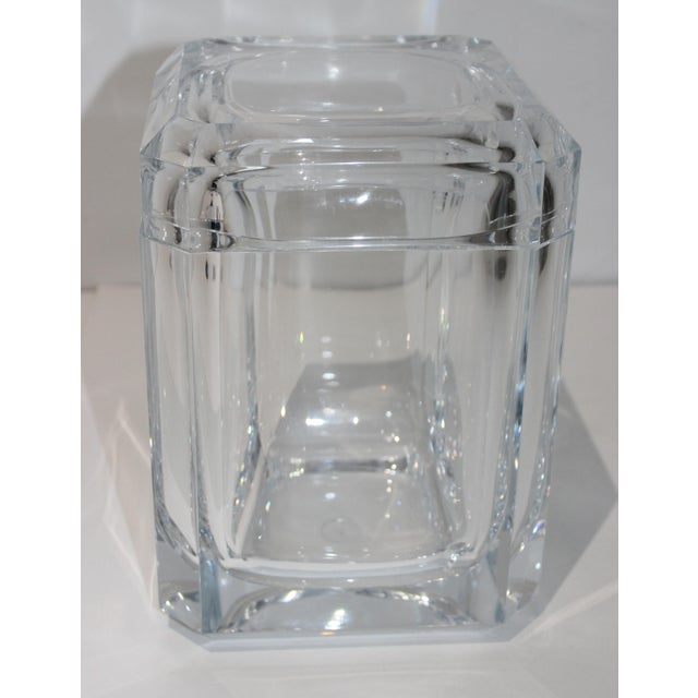 Modern Vintage Lucite Ice Bucket With Cantilevered Lid For Sale - Image 3 of 11