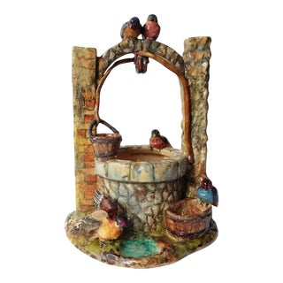 Majolica Birds Well Clement Massier, circa 1890 For Sale