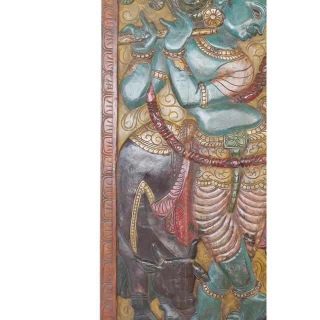 Anglo-Indian Indian Carved Krishna Handmade Vintage Wall Relief Sculptural Door For Sale - Image 3 of 5