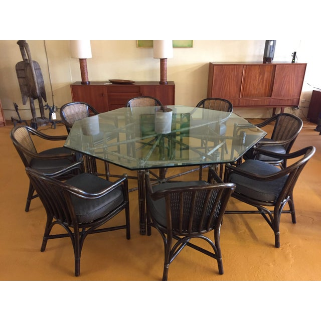 Boho Chic McGuire Octagonal Bamboo and Glass Dining Table and Matching McGuire Rattan Chairs -Set of 8 For Sale - Image 3 of 13