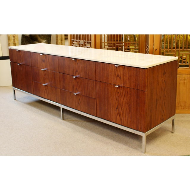 Mid-Century Modern Florence Knoll for Knoll Int. Rosewood Marble Credenza, 1960s For Sale - Image 12 of 12