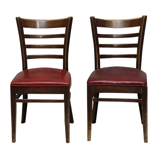 Red Seated Chairs - a Pair For Sale