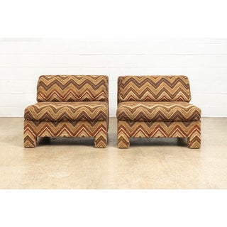Mid Century Milo Baughman Style Lounge Chairs With Brown Zig-Zag Chevron Upholstery - a Pair Preview
