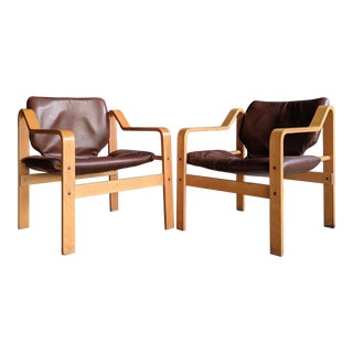 Westnofa Style Bentwood Leather Safari Chairs, a Pair For Sale