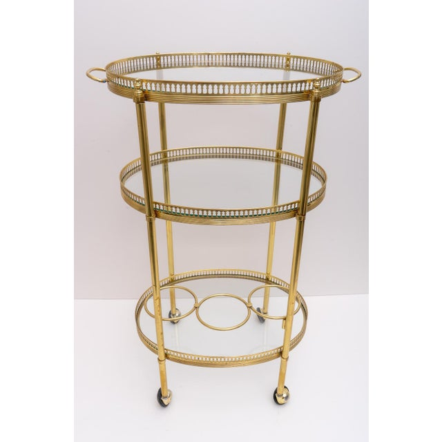 Mid 20th Century Hollywood Regency Oval Brass Bar Cart, 1970s Florence Italy For Sale - Image 5 of 13