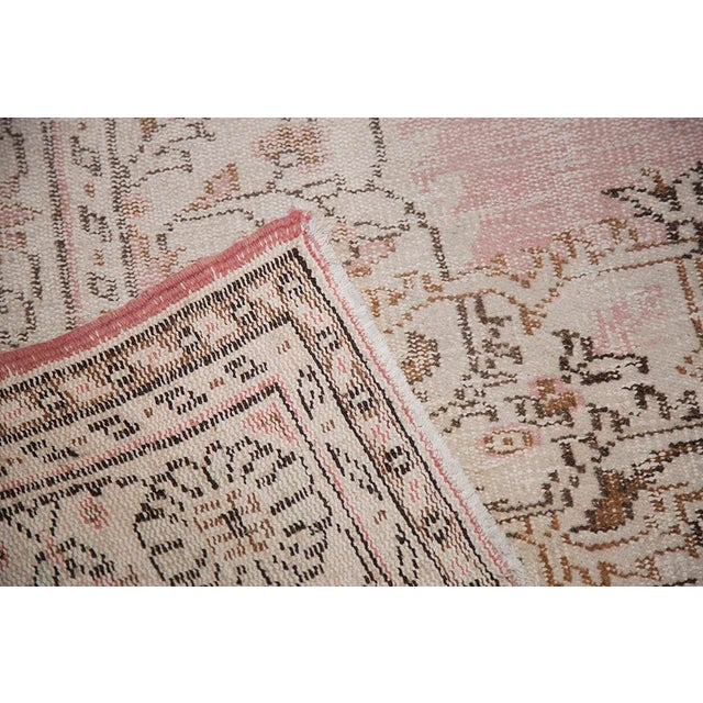 "Blush Pink Turkish Overdyed Rug - 6'6"" x 10'3"" For Sale - Image 5 of 7"
