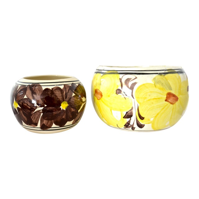 Yellow Mexican Flower Pots - A Pair For Sale