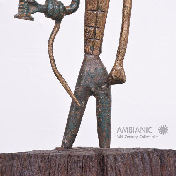 Modernist Bronze Sculpture Sumerian God with Snake & Cup - Image 2 of 10