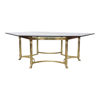 Monumental La Barge Brass and Glass Coffee Table, 1950s, France For Sale