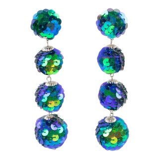 Turquoise Blue Sequin Disco Balls Dangling Chandelier Clip on Earrings For Sale