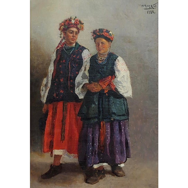 "Art Nouveau Original 19th Century ""Russian Wedding"" Oil Painting For Sale - Image 3 of 10"