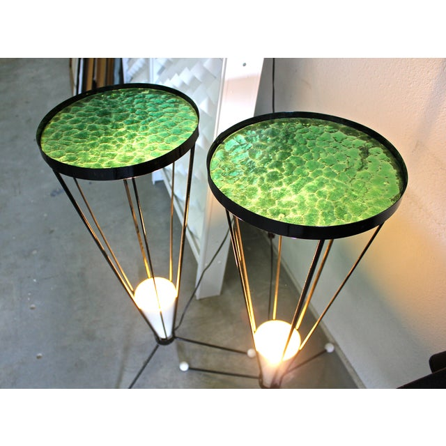Mid Century 1950s Green Glass Atomic Light Stands - a Pair - Image 3 of 4
